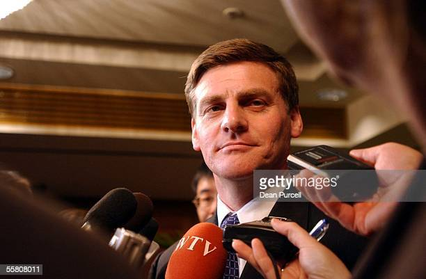 National Leader Bill English talks to the media after his meeting with President Hu Jintao of the People's Republic of China at the Sheraton Hotel...
