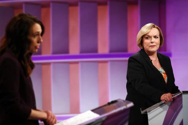 NZL: Jacinda Ardern And Judith Collins Take Part In First TVNZ Leaders' Debate