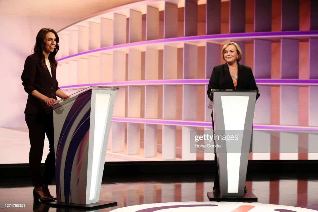 Jacinda Ardern And Judith Collins Take Part In First TVNZ Leaders' Debate : News Photo