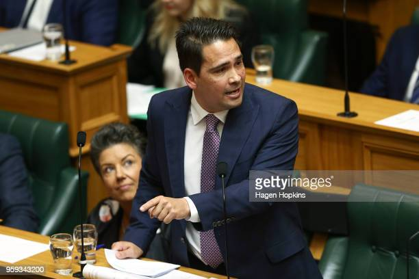 National leader Simon Bridges speaks during the 2018 budget presentation at Parliament on May 17 2018 in Wellington New Zealand Grant Robertson...
