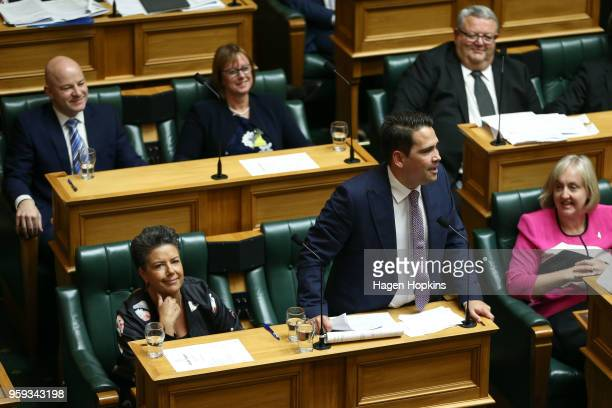 National leader Simon Bridges speaks while deputy Paula Bennett looks on during the 2018 budget presentation at Parliament on May 17 2018 in...