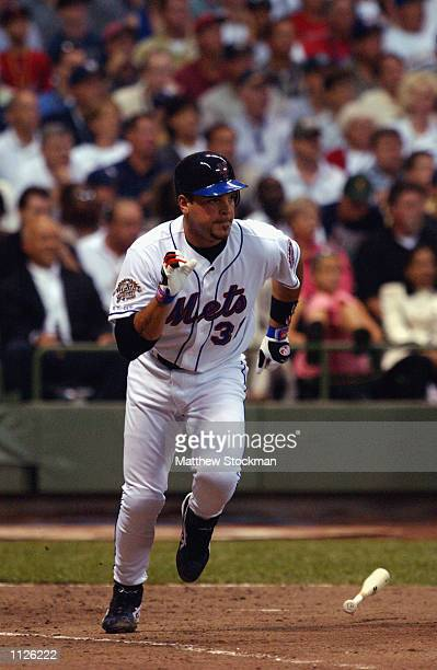 National League All Star catcher Mike Piazza of the New York Mets runs to first base during the MLB All Star Game July 9, 2002 at Miller Park in...