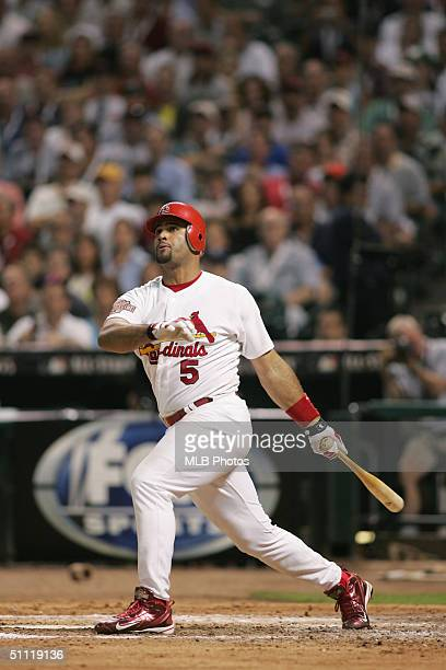 National League AllStar Albert Pujols of the St Louis Cardinals doubles in the fourth inning during the Major League Baseball AllStar Game at Minute...