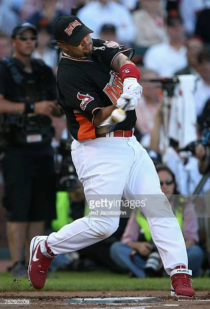 National League AllStar Albert Pujols of the St Louis Cardinals competes in round 1 of the 78th Major League Baseball AllStar Home Run Derby at ATT...