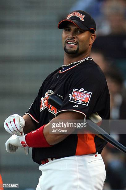 National League AllStar Albert Pujols of the St Louis Cardinals smiles after hitting his 11th home run in the 78th Major League Baseball AllStar Home...