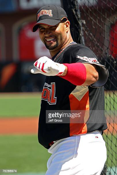National League AllStar Albert Pujols of the St Louis Cardinals warms up on the field during the 78th Major League Baseball AllStar Work Out Day at...