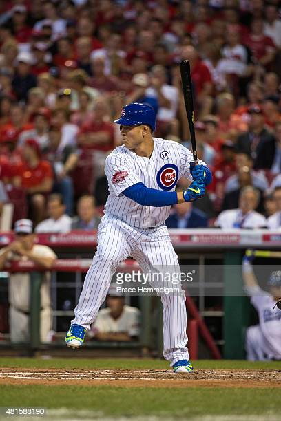 National League AllStar Anthony Rizzo of the Chicago Cubs bats during the 86th MLB AllStar Game at the Great American Ball Park on July 14 2015 in...