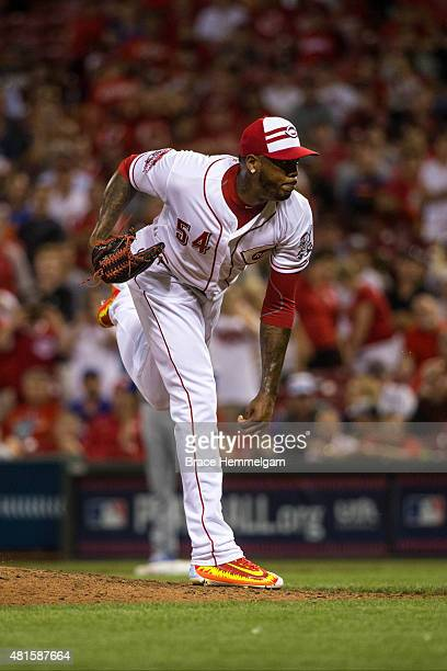 National League AllStar Aroldis Chapman of the Cincinnati Reds pitches during the 86th MLB AllStar Game at the Great American Ball Park on July 14...