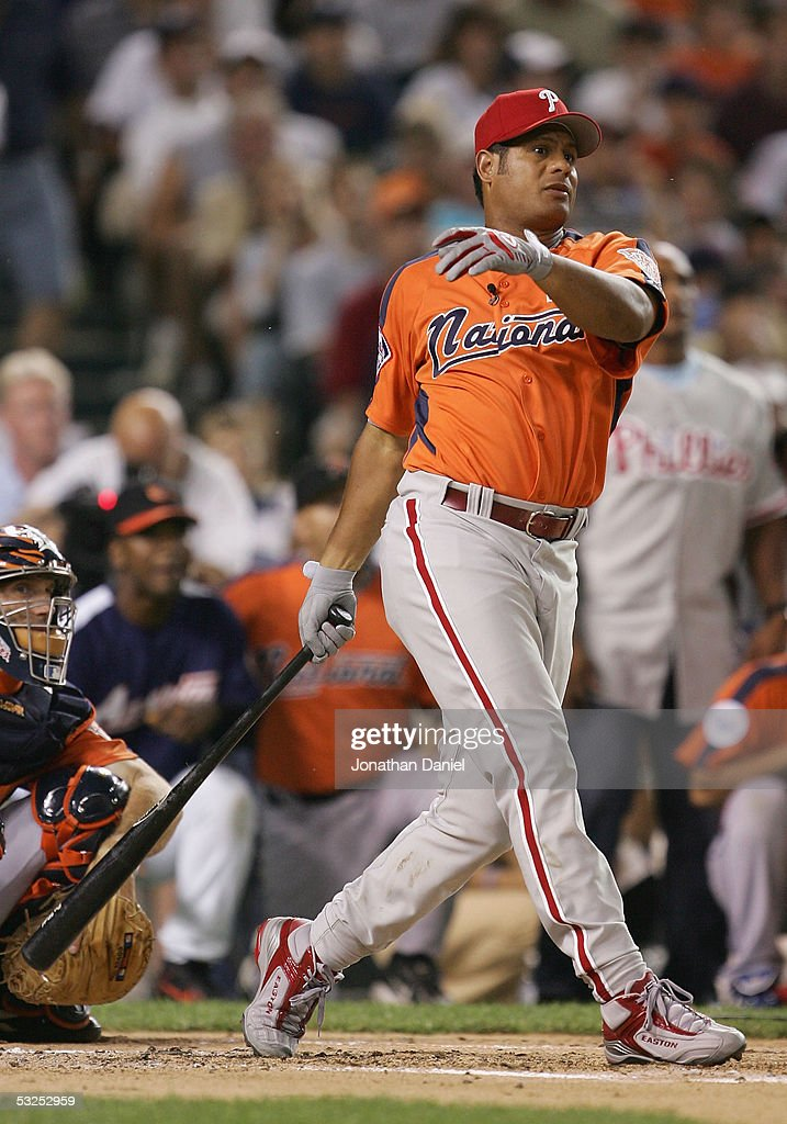 National League All-Star Bobby Abreu #53 of the Philadelphia Phillies bats during the 2005 Major League Baseball Home Run Derby at Comerica Park on July 11, 2005 in Detroit, Michigan.