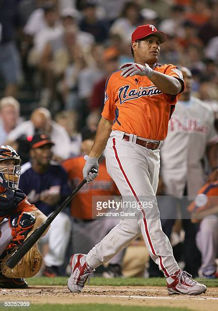 National League AllStar Bobby Abreu of the Philadelphia Phillies bats during the 2005 Major League Baseball Home Run Derby at Comerica Park on July...