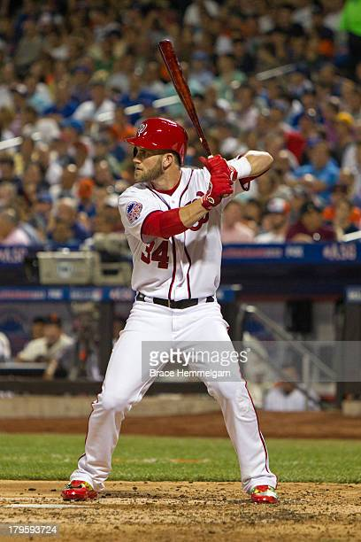 National League AllStar Bryce Harper of the Washington Nationals bats during the 84th MLB AllStar Game on July 16 2013 at Citi Field in the Flushing...