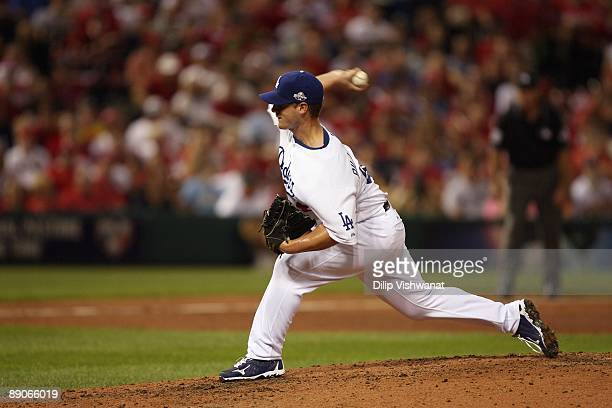 National League AllStar Chad Billingsley of the Los Angeles Dodgers pitches during the 2009 MLB AllStar Game at Busch Stadium on July 14 2009 in St...