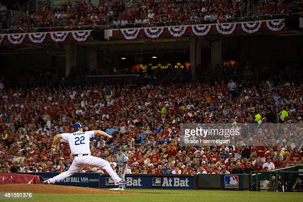 National League AllStar Clayton Kershaw of the Los Angeles Dodgers pitches during the 86th MLB AllStar Game at the Great American Ball Park on July...