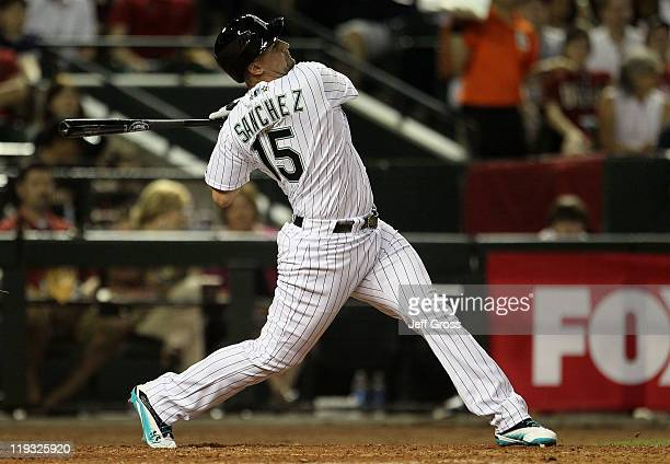 National League AllStar Gaby Sanchez of the Florida Marlins at bat during the 82nd MLB AllStar Game at Chase Field on July 12 2011 in Phoenix Arizona