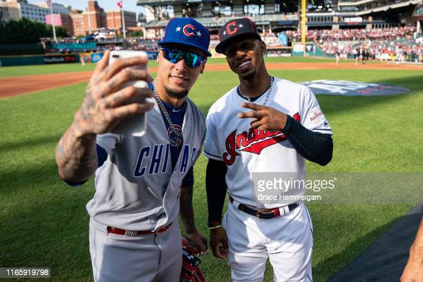 National League All-Star Javier Baez of the Chicago Cubs and American League All-Star Francisco Lindor of the Cleveland Indians during the 90th MLB...
