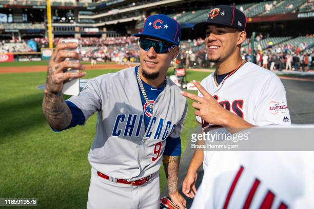 National League All-Star Javier Baez of the Chicago Cubs and American League All-Star Jose Berrios of the Minnesota Twins of the Cleveland Indians...