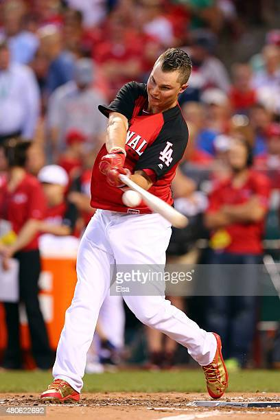 National League AllStar Joc Pederson Los Angeles Dodgers bats during the Gillette Home Run Derby presented by Head Shoulders at the Great American...