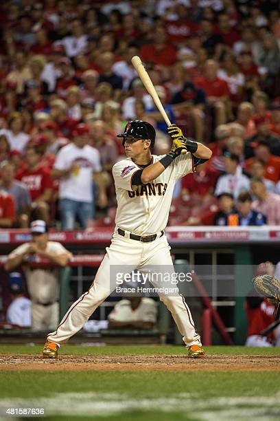 National League AllStar Joe Panik of the San Francisco Giants bats during the 86th MLB AllStar Game at the Great American Ball Park on July 14 2015...
