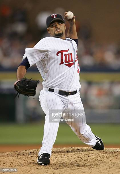National League AllStar Johan Santana of the Minnesota Twins throws a pitch against the American League AllStars during the 76th Major League...