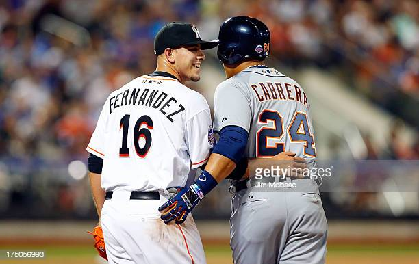 National League AllStar Jose Fernandez of the Miami Marlins has a laugh with American League AllStar Miguel Cabrera of the Detroit Tigers during the...