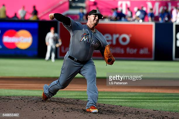 National League AllStar Jose Fernandez of the Miami Marlins pitches during the 2016 MLB AllStar Game at Petco Park on Tuesday July 12 2016 in San...