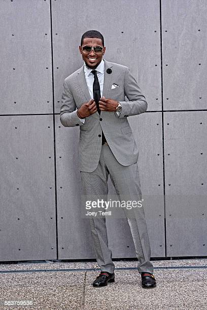 National League AllStar Julio Teheran of the Atlanta Braves poses for a portrait as he enters Petco Park following the Red Carpet parade before the...
