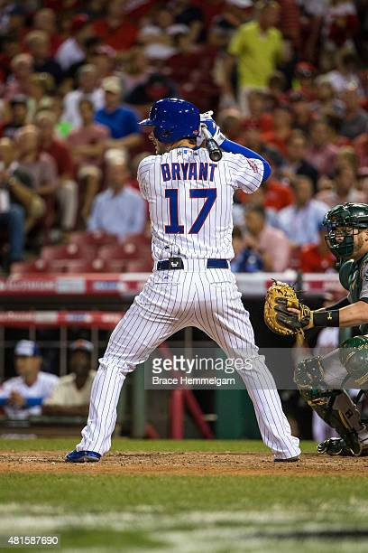 National League AllStar Kris Bryant of the Chicago Cubs bats during the 86th MLB AllStar Game at the Great American Ball Park on July 14 2015 in...