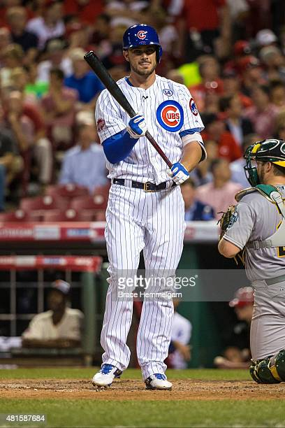 National League AllStar Kris Bryant of the Chicago Cubs looks on during the 86th MLB AllStar Game at the Great American Ball Park on July 14 2015 in...