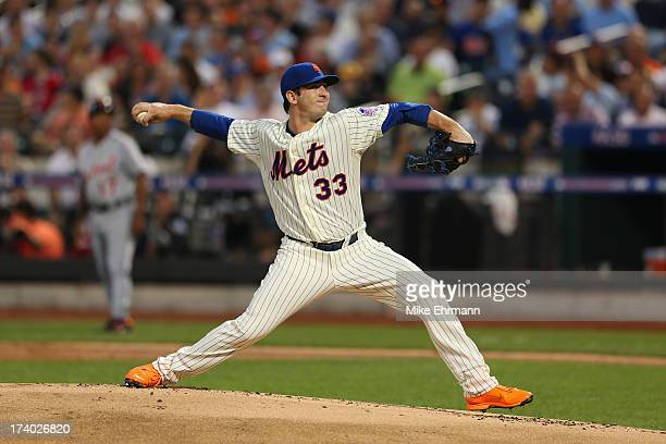 National League AllStar Matt Harvey of the New York Mets pitches against the American League AllStars during the 84th MLB AllStar Game on July 16...