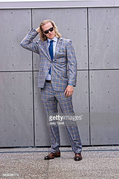 National League AllStar Noah Syndergaard of the New York Mets poses for a portrait as he enters Petco Park following the Red Carpet parade before the...