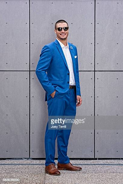 National League AllStar Nolan Arenado of the Colorado Rockies poses for a portrait as he enters Petco Park following the Red Carpet parade before the...