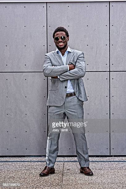 National League AllStar Odubel Herrera of the Philadelphia Phillies poses for a portrait as he enters Petco Park following the Red Carpet parade...