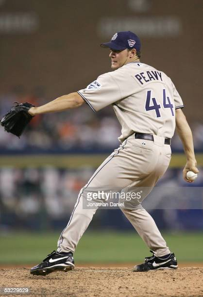 National League AllStar pitcher Jake Peavy of the San Diego Padres throws a pitch against the American League AllStars during the eighth inning of...