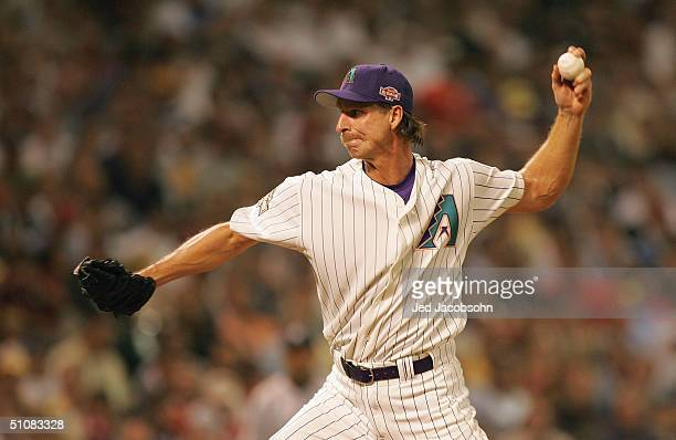 National League All-Star pitcher Randy Johnson of the Arizona Diamondbacks delivers against the American League All-Star Team during the Major League...
