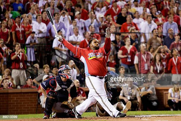 National League All-Star Prince Fielder of the Milwaukee Brewers competes in the third round on his way to winning the State Farm Home Run Derby at...
