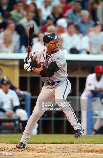 National League AllStar right fielder Gary Sheffield of the Atlanta Braves swings at an American League AllStar pitch during the 74th Major League...