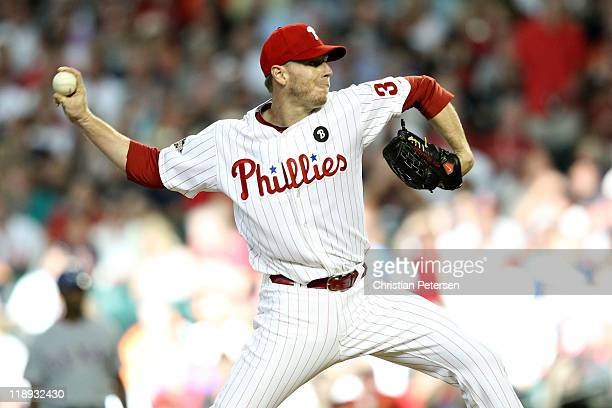 National League AllStar Roy Halladay of the Philadelphia Phillies throws a pitch in the first inning of the 82nd MLB AllStar Game at Chase Field on...