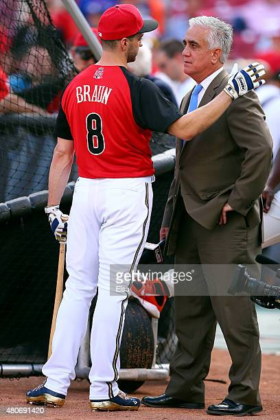 National League All-Star Ryan Braun of the Milwaukee Brewers speaks with Pedro Gomez of ESPN prior to the 86th MLB All-Star Game at the Great...