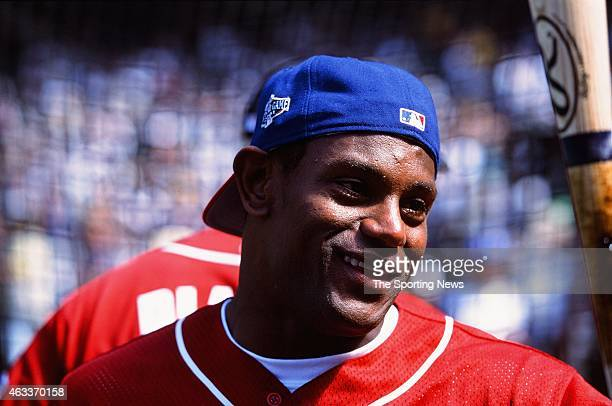 National League AllStar Sammy Sosa looks on during the 2001 MLB AllStar Game at Safeco Field on July 10 2001 in Minneapolis Minnesota