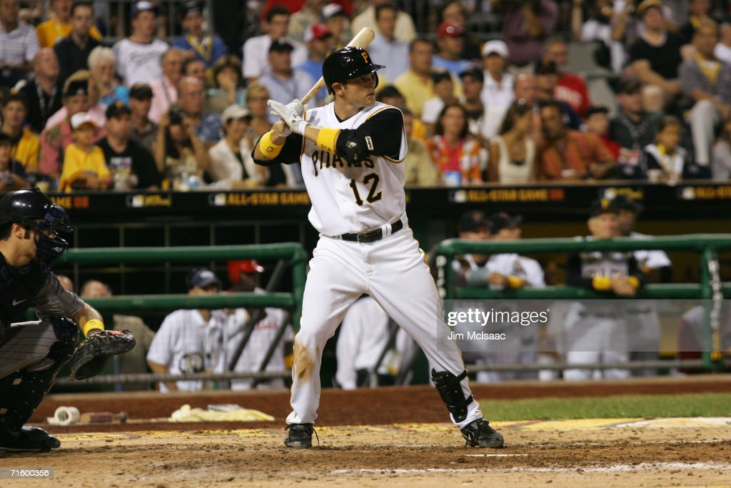 National League All-Star second baseman Freddy Sanchez #12 bats against the American League during the 77th MLB All-Star Game on July 11, 2006 at PNC Park in Pittsburgh, Pennsylvania. The American League won 3-2.