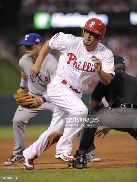 National League AllStar Shane Victorino of the Philadelphia Phillies runs the bases during the 2009 MLB AllStar Game at Busch Stadium on July 14 2009...