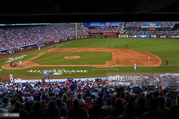National League AllStar Stephen Strasburg of the Washington Nationals pitches in the fourth inning during the 83rd MLB AllStar Game at Kauffman...