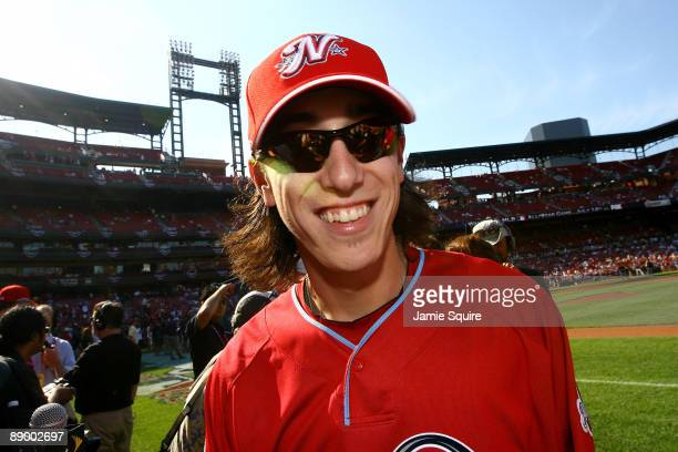 National League AllStar Tim Lincecum of the San Francisco Giants looks on the during the Gatorade AllStar Workout Day at Busch Stadium on July 13...