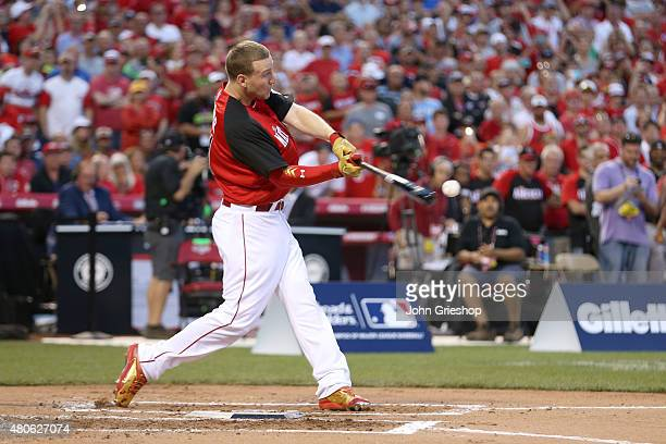 National League AllStar Todd Frazier of the Cincinnati Reds hits the ball during the Gillette Home Run Derby presented by Head Shoulders at Great...