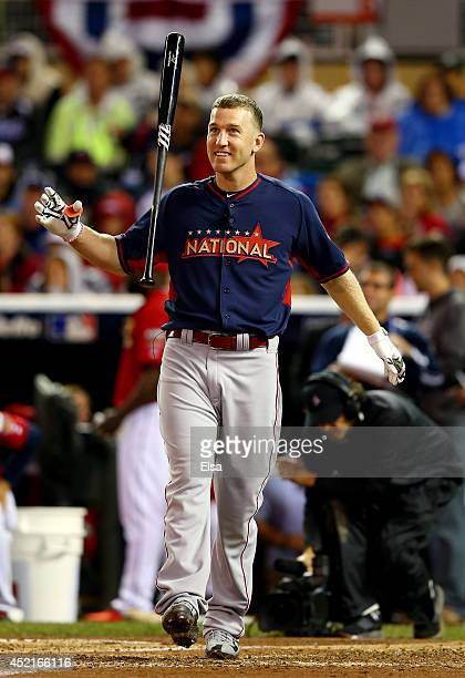 National League AllStar Todd Frazier of the Cincinnati Reds reacts in the final round during the Gillette Home Run Derby at Target Field on July 14...