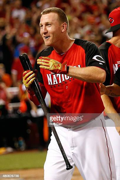 National League AllStar Todd Frazier of the Cincinnati Reds celebrates winning the Gillette Home Run Derby presented by Head Shoulders at the Great...