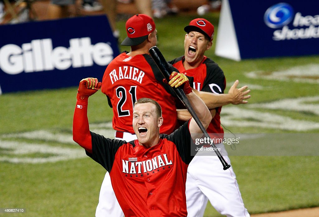 National League All-Star Todd Frazier #21 of the Cincinnati Reds celebrates with his brothers Jeff and Charlie after winning the Gillette Home Run Derby presented by Head & Shoulders at the Great American Ball Park on July 13, 2015 in Cincinnati, Ohio.