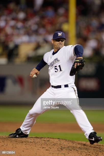 National League All-Star Trevor Hoffman of the Milwaukee Brewers pitches during the 2009 MLB All-Star Game at Busch Stadium on July 14, 2009 in St...