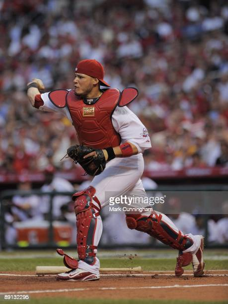 National League AllStar Yadier Molina of the St Louis Cardinals makes a throw during the 2009 MLB AllStar Game at Busch Stadium on July 14 2009 in St...