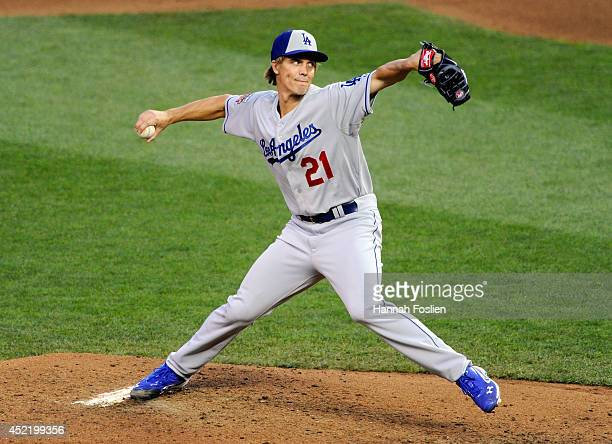 National League AllStar Zack Greinke of the Los Angeles Dodgers pitches against the American League AllStars during the 85th MLB AllStar Game at...